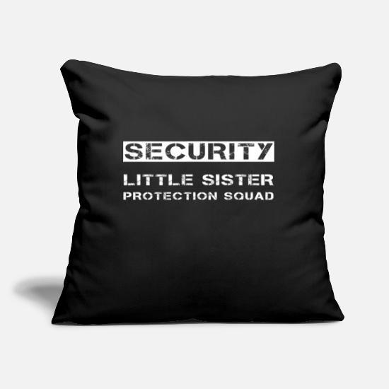 "Brother Pillow Cases - Security Little Sister Protection Squad Brother - Throw Pillow Cover 18"" x 18"" black"