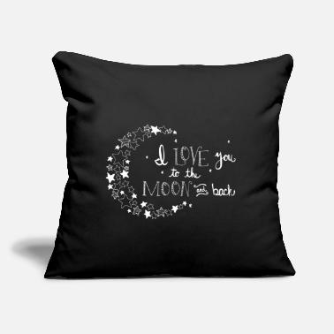 "Love With Heart I love you to the moon and back with crescent - Throw Pillow Cover 18"" x 18"""