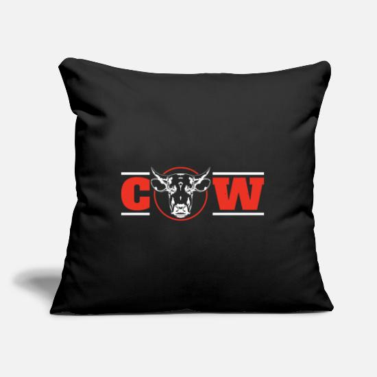 "Skull Pillow Cases - Cow - Throw Pillow Cover 18"" x 18"" black"