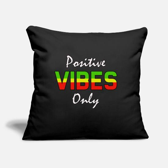 "Reggae Pillow Cases - positive vibes only - Throw Pillow Cover 18"" x 18"" black"