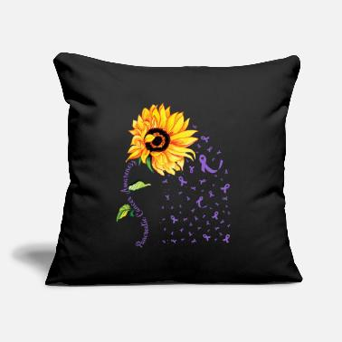 "Sunflower Pancreatic Cancer Awareness Purple T-Shi - Throw Pillow Cover 18"" x 18"""