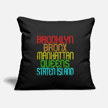 "5 Boroughs The 5 Boroughs Of New York City Retro Vintage 80S - Throw Pillow Cover 18"" x 18"""