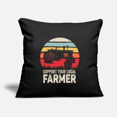 "Retro Support Your Local Farmer Shirt Vintage Trac - Throw Pillow Cover 18"" x 18"""