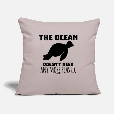 "Slow Turtle Ocean Nature plastic - Throw Pillow Cover 18"" x 18"""