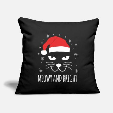 "Merry Meowy And Bright Cat Animal Lover Christmas Gift - Throw Pillow Cover 18"" x 18"""