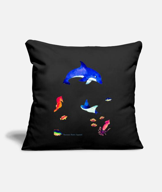 "Ocean Pillow Cases - ""The Echos"" - Throw Pillow Cover 18"" x 18"" black"