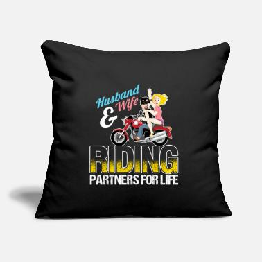 "Husband And Wife Quotes Husband And Wife Riding Partners For Life - Throw Pillow Cover 18"" x 18"""