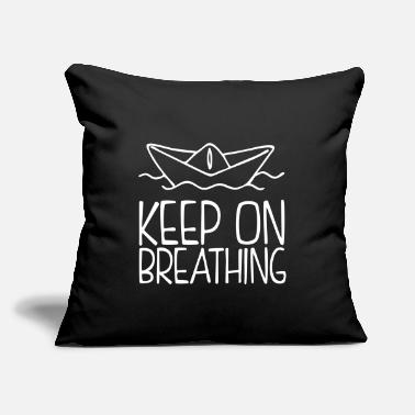 "Air Boat Keep On Breathing - Paper Boat Illustration - Throw Pillow Cover 18"" x 18"""