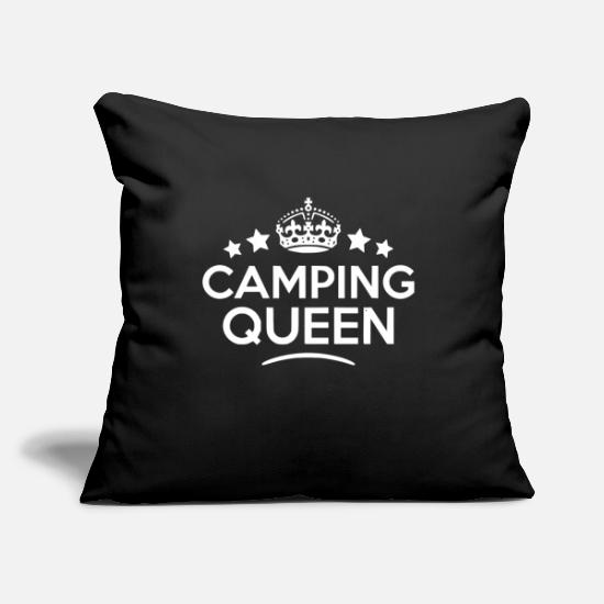 "Camping Pillow Cases - camping queen - Throw Pillow Cover 18"" x 18"" black"