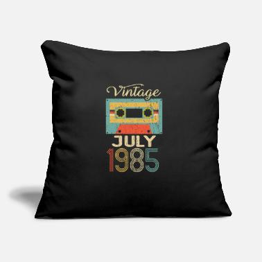 "Round Birthday Vintage July 1985 35th Birthday 35 Year Gift - Throw Pillow Cover 18"" x 18"""