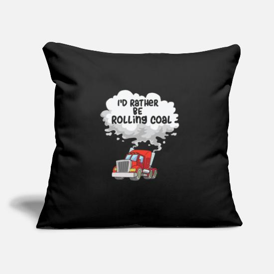"Powerstroke Pillow Cases - DIESEL TRUCKER: I'd Rather Be Rolling Coal - Throw Pillow Cover 18"" x 18"" black"