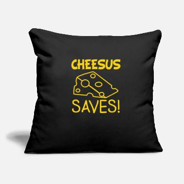 "Cheesus Swiss Cheese Cheesus Saves Jesus Lover Gift - Throw Pillow Cover 18"" x 18"""