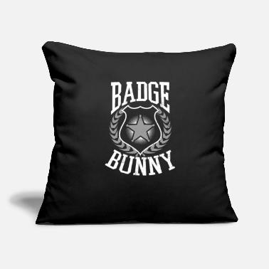 "Police Proud Police Wife Badge Bunny Gift - Throw Pillow Cover 18"" x 18"""