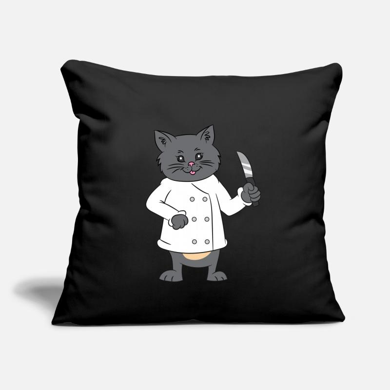 "Boss Pillow Cases - Chef Knife 4th of July US Flag Cat Gift - Throw Pillow Cover 18"" x 18"" black"