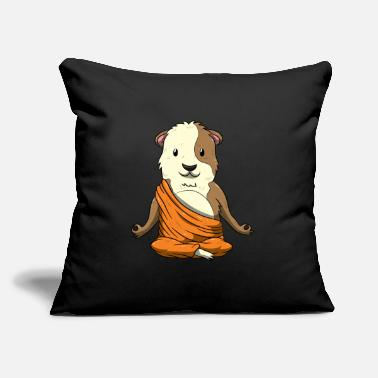 "Domestic Cavy Budda Guinea Pig Funny Cavy Meditation Yoga Positi - Throw Pillow Cover 18"" x 18"""