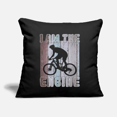 "Bike Mountain bike  cyclist I am the engine - Throw Pillow Cover 18"" x 18"""