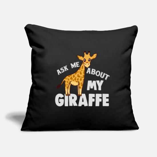 "Gift Idea Pillow Cases - Giraffe - Throw Pillow Cover 18"" x 18"" black"