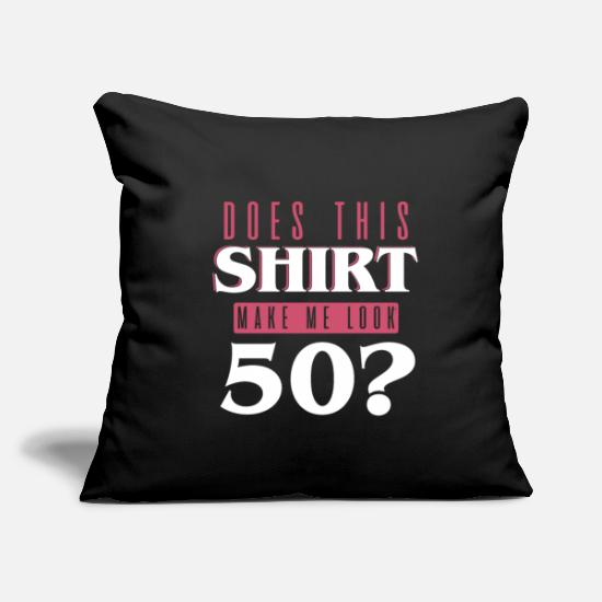 "Birthday Pillow Cases - 50. Birthday - Throw Pillow Cover 18"" x 18"" black"