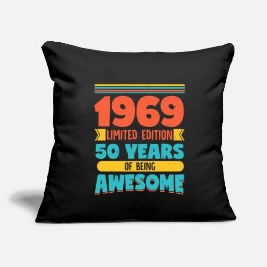 "Party Pillow Cases - 50. Birthday - Throw Pillow Cover 18"" x 18"" black"