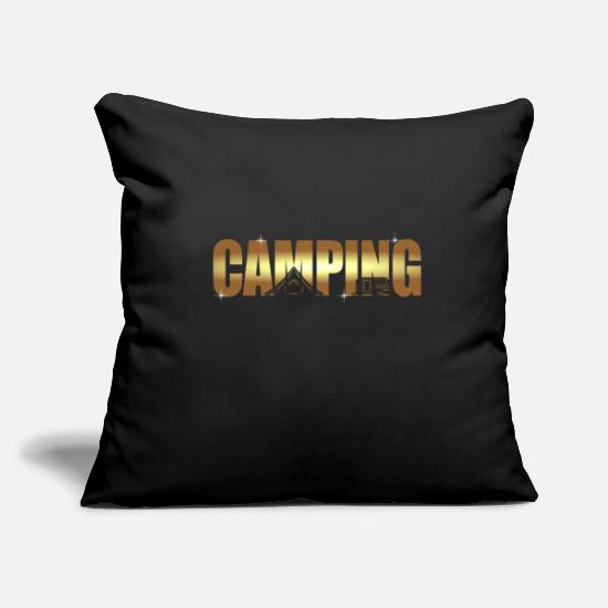"Gift Idea Pillow Cases - camping - Throw Pillow Cover 18"" x 18"" black"