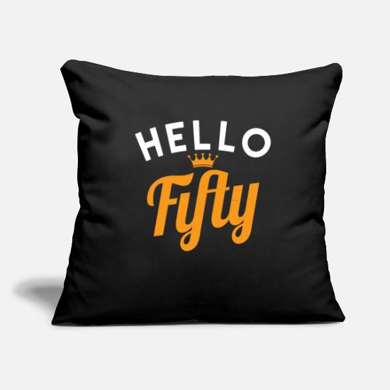 "Gift Idea Pillow Cases - 50. Birthday - Throw Pillow Cover 18"" x 18"" black"