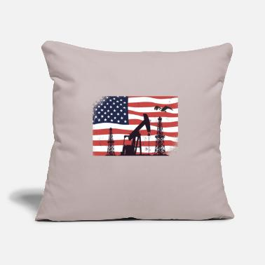 "Oil Oil Rig Worker Pump USA American Gas Oilfield - Throw Pillow Cover 18"" x 18"""