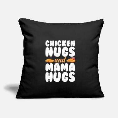 "Little Chicken Nugs Mama Hugs Funny Cute Kids - Throw Pillow Cover 18"" x 18"""