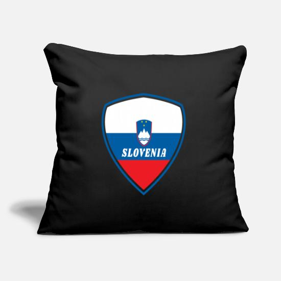"Gift Idea Pillow Cases - Slovenia coat of arms / gift national colours - Throw Pillow Cover 18"" x 18"" black"