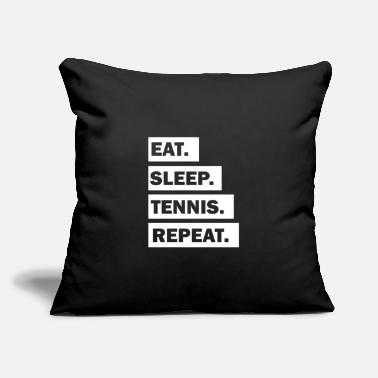 "Eat Sleep Tennis Repeat cool font - Throw Pillow Cover 18"" x 18"""