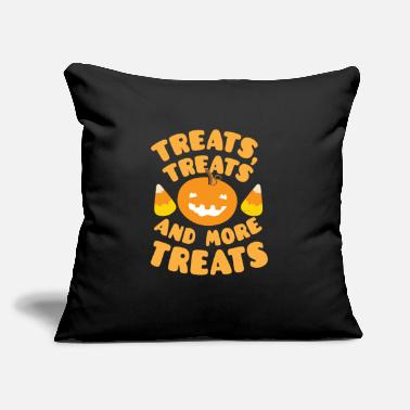 "Treat Treats treats and more treats with candy corn - Throw Pillow Cover 18"" x 18"""