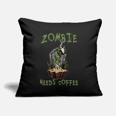 "Zombie halloween zombie needs coffee funny design - Throw Pillow Cover 18"" x 18"""