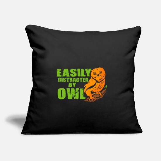 "Nocturnal Bird Pillow Cases - Owl Night Nocturnal Bird Cuckoo Ornithology Forest - Throw Pillow Cover 18"" x 18"" black"