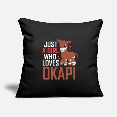 "Congolese Girlfriend Okapi Forest Giraffe Serengeti Africa Safari - Throw Pillow Cover 18"" x 18"""