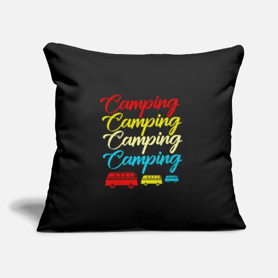 "Trekking Pillow Cases - Camping - Throw Pillow Cover 18"" x 18"" black"