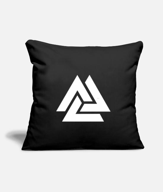"Viking Pillow Cases - Valknut Odin Symbol Viking Nordic Triangle - Throw Pillow Cover 18"" x 18"" black"