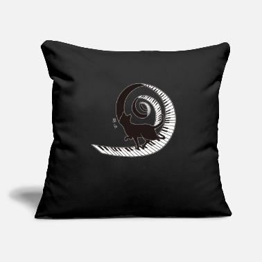 "Black Cat Walking On Spiral Piano Music Love - Throw Pillow Cover 18"" x 18"""