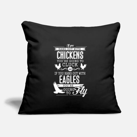 "Purpose Pillow Cases - If you hang out with chicken you're going to cluck - Throw Pillow Cover 18"" x 18"" black"