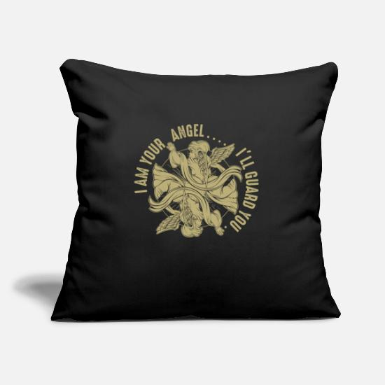 "Wing Pillow Cases - I Am Your Angel I'll Guard You | Guardian Quotes - Throw Pillow Cover 18"" x 18"" black"