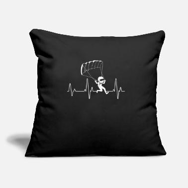"Skydive Cool Paraglider ECG Heartbeat Silhouette Parachute - Throw Pillow Cover 18"" x 18"""