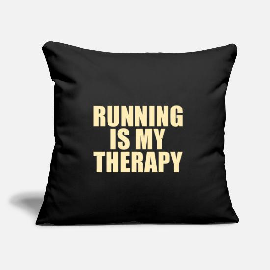 "To Jog Pillow Cases - RUNNING: running is my therapy - Throw Pillow Cover 18"" x 18"" black"