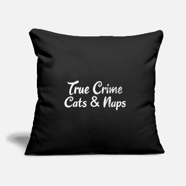 "Addicted TRUE CRIME: True Crime Cats & Naps - Throw Pillow Cover 18"" x 18"""