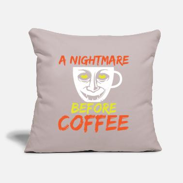 "Ghost Nightmare Before Coffee Spooky Halloween Gift - Throw Pillow Cover 18"" x 18"""