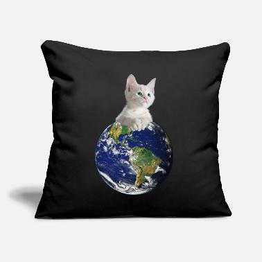 "Space Jesus Space Kitten Ruler Of Earth Funny - Throw Pillow Cover 18"" x 18"""