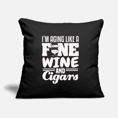 "Nicotine Cuban Cigar Smoking Fine Wine Funny Sayings - Throw Pillow Cover 18"" x 18"""