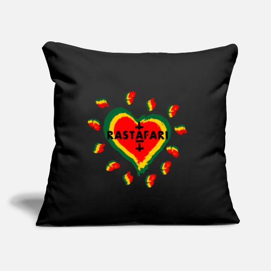 "Ska Pillow Cases - Rastafari love heart - Throw Pillow Cover 18"" x 18"" black"