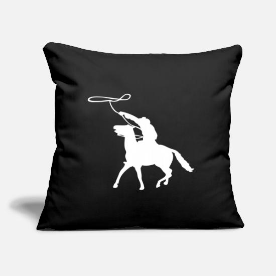 "Western Riding Pillow Cases - Cowboy Western Rider - Throw Pillow Cover 18"" x 18"" black"