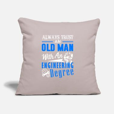 "Old Old Man With An Engineering Degree Shirt - Throw Pillow Cover 18"" x 18"""