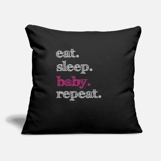 "Baby Pillow Cases - Baby Baby Baby Baby Baby Baby Baby Baby Baby Baby - Throw Pillow Cover 18"" x 18"" black"