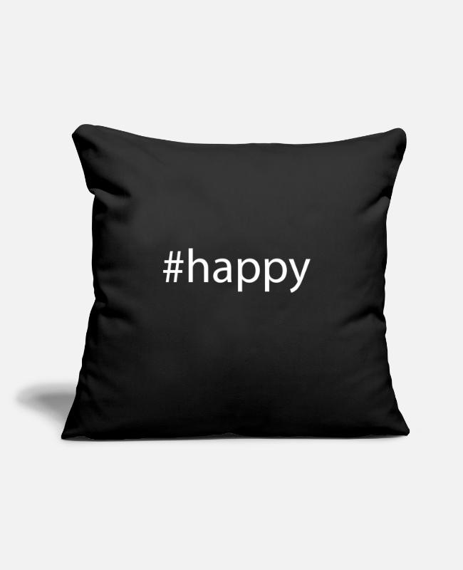 "Hashtag Pillow Cases - #happy Hashtag Trend Cool Popular Social Media - Throw Pillow Cover 18"" x 18"" black"