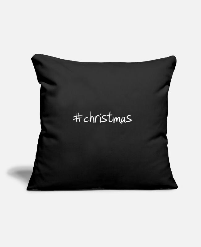 "Hashtag Pillow Cases - #christmas Hashtag Trend Cool Popular - Throw Pillow Cover 18"" x 18"" black"